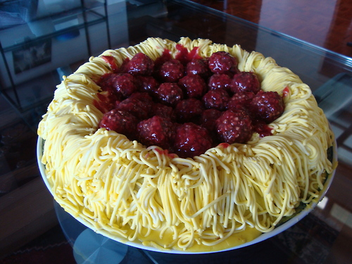 Spaghetti and Meatball Cake